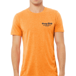 front of crazy lady beer t shirt in orange