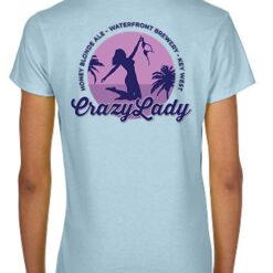 Back of Crazy Lady V neck in blue