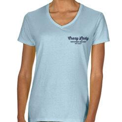 front of Crazy Lady V Neck T Shirt in blue