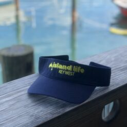 island life visor in navy with yellow
