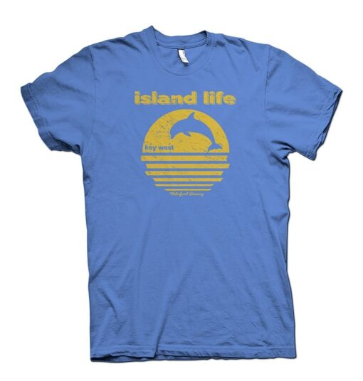 Island Life T shirt yellow and blue