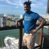 Rashad in Waterfont Brewery classic t shirt blue