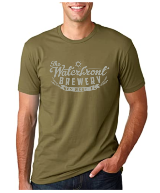 military green waterfront brewery t shirt