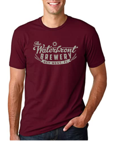 maroon waterfront brewery t shirt