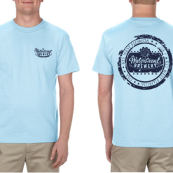 Waterfront Brewery stamp t shirt blue